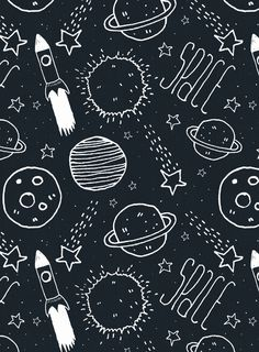 drawing, space, planet, rocket...