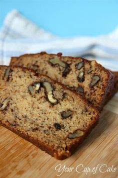 Best moist Banana Bread..... New favorite from Yourcupofcake! I changed a couple things... I used coconut oil, heavy cream instead of buttermilk & added a pkg of cook & serve Banana cream pudding powder & extra walnuts! So yummy!