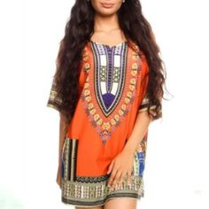 African Dashiki Print Dress Orange