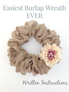 Burlap Wreath - Video Tutorial This is the easiest burlap wreath you can do. Plus there is a video tutorial!This is the easiest burlap wreath you can do. Plus there is a video tutorial! Burlap Projects, Burlap Crafts, Wreath Crafts, Diy Projects To Try, Crafts To Make, Craft Projects, Arts And Crafts, Diy Crafts, Craft Ideas