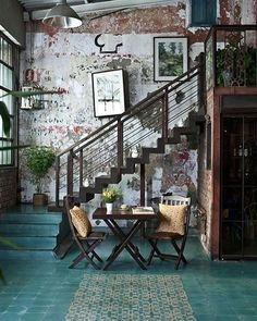 """194 Likes, 6 Comments - Ramshackle Chic (@ramshacklechic) on Instagram: """"Floor color. Walls. Staircase. Ahhhh! . . #industrialdesign #industrial #bohemian #boho #bohodecor…"""""""