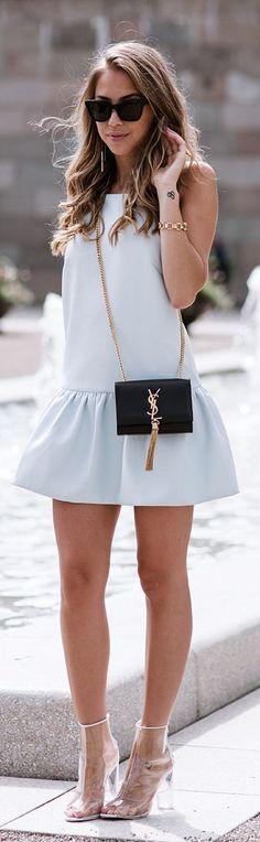 Finders Keepers Light Blue Flirty Drop Waist Strappy Back Little Dress by Kenzas