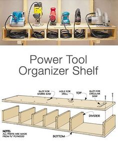 Garage Storage on a Budget - Power Tool Organizer Shelf Want more storage? Than try these DIY garage storage ideas! Get your garage organization done this weekend! Diy Garage Storage, Shed Storage, Garage Organization, Budget Storage, Lumber Storage, Organization Ideas, Kitchen Storage, Wall Storage, Craft Storage
