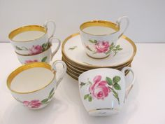 Lot: Vintage Set Meissen Antique Rose Cups, Plates, Saucers, Lot Number: 0016, Starting Bid: $1,000, Auctioneer: Exquisite Entities, LLC., Auction: Asian Art and Antiques Spring Auction, Date: April 15th, 2017 EEST