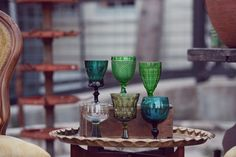 vintage multi-colored goblets.. photo: mint-2-be.. Mintage Rentals provides modern + vintage rentals for staging and special events.