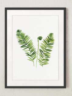 Fern Watercolor Art Print Green Botanical Leaf Painting, Abstract Minimalist Kitchen Illustration, Rustic Home Decor Forest Plant Poster Fern Plant, Plant Art, Watercolor Paintings, Original Paintings, Painting Abstract, Watercolor Plants, Forest Plants, Forest Painting, Rustic Painting
