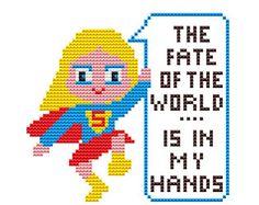 SUPERGIRL FATE Parody #Cross #stitch #Pattern PDF   Boy di POWSTITCH