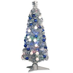 National Tree Fiber Optic Christmas Tree in a Silver Base - http://www.christmasshack.com/christmas-trees/fiber-optic-christmas-trees/national-tree-fiber-optic-christmas-tree-in-a-silver-base/