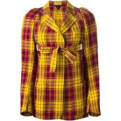 Comme Des Garçons Vintage Tartan Wrap Blazer ($834) ❤ liked on Polyvore featuring outerwear, jackets, blazers, tartan jacket, plaid blazer, plaid jacket, wrap blazer and comme des garçons