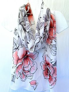 Hand Painted Silk Scarf. Red Floral Scarf, Wine Red Roses. Red Silk Scarf. Silk Scarves Takuyo. Luxury Silk. 10x88 in... $128.00, via Etsy.