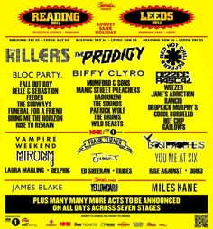 Leeds and Reading Festival 2013 has amazing line-up with The Killers, The Prodigy, Biffy Clyro and more. #MusicFestival #Leeds