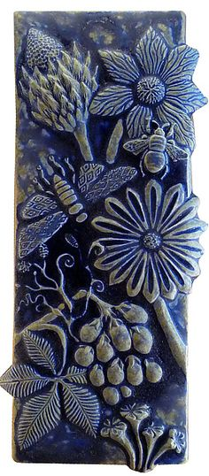 Botanical and Bugs Ceramic Tile in Night Sky Glaze: Beth Sherman: Ceramic Wall Art | Artful Home
