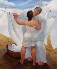 """Loving Family "" - huile sur toile, début 21e siècle - Margarita Sikorskaia, artiste contemporaine, USA"