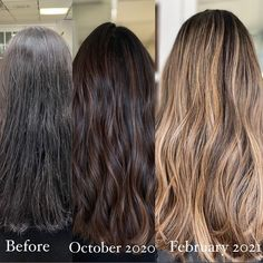 What does it mean to get your hair done in sessions?Here is a client who had all natural hair back in October and wanted a super subtle balayage to enhance her natural dimension. Her last appointment she wanted something significantly brighter, and closer to the root area. ✨ Subtle Balayage, Balayage Hair, Balayage Before And After, Balayage Technique, Natural Hair Styles, Long Hair Styles, Spring Hairstyles, Hair Painting, Hair Looks