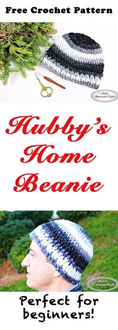 bfd4ee5fae0132 Hubby's Home Beanie - Free Crochet Pattern. Mens Crochet BeanieCrochet Hat  ...