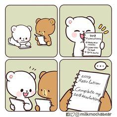No photo description available. Cute Cartoon Images, Cute Couple Cartoon, Cute Love Cartoons, Cute Cartoon Wallpapers, Cute Bear Drawings, Kawaii Drawings, Bear Instagram, Cute Love Gif, Bunny And Bear