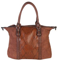 """Rimen & Co. PU Leather Suede Animal Print Tote Top Handle Crossbody Women's Handbag Purse CZ-2713 Brown. This handbag comes in 5 different colors: Brown, Navy Blue, Khaki, Dark Pink, and Grey. High Quality PU Leather Accented Metal Stud Hobo Tote Bag. High Quality Fabric Lined Interior with Multiple Interior Pockets. 2 Comparment separated by 1 Center Divider Zipper Pocket. 1 Large Pocket Inside with Zipper and Pockets on Both Side. Approximate Size info: Length 14"""" x Width 5"""" x Height…"""