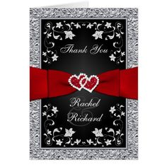 Summer Wedding Thank You Cards Black Silver Red Floral Hearts FAUX Foil Thank You Card