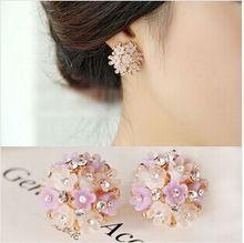 The new design flower earrings Rhinestone earrings ear buckle new women's fashion jewelry(China (Mainland))