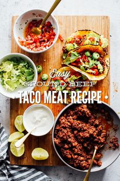 Ground Beef Taco Meat Recipe - Live Simply Easy Healthy Recipes, Meat Recipes, Easy Dinner Recipes, Mexican Food Recipes, Whole Food Recipes, Healthy Snacks, Burrito Meat Recipe, Taco Recipe, Healthy Snack Drawer