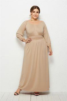 Elegant Long Sleeve Nude Jersey A Line Spring Fall Plus Size Clothing Maxi Casual  Dress dc13c7a746c8