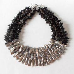 Stick Pearl and Gemstone Statement Necklace Smokey door Rocktopolis