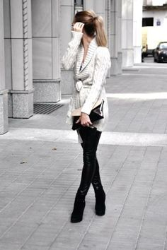 #Leather legging + cozy sweater