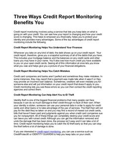 Do You Have Credit Monitoring?