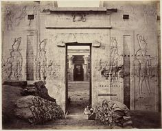 The Great Gate of the Temple of Horus at Edfu, Egypt,circa 1862.