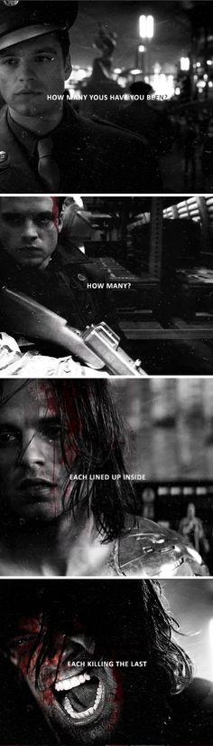 [Bucky Barnes] Sure, stab me a few more times in the heart, why don't you?