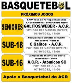 Basquetebol: ACR Vale de Cambra  Jogos Fim-de-Semana  > 5 e 7 Outubro, 2012