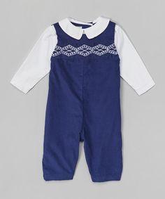 @michellerene Look at this #zulilyfind! Navy Corduroy Smocked Overalls & White Button-Up - Infant #zulilyfinds