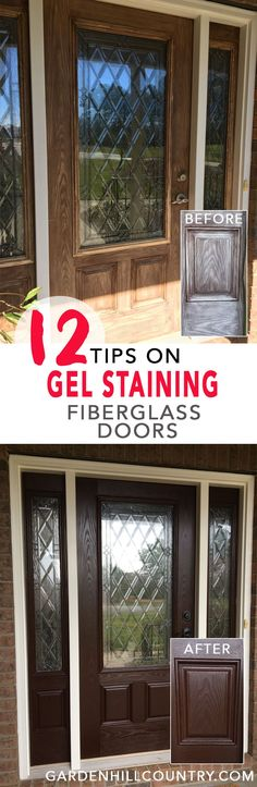 Here are 12 Tips for Gel Staining Fiberglass Doors including information on supplies, surface preparation, gel application, dry time, and spar urethane application.