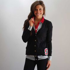 A polo + t-shirt cardigan combo = perfectly collegiate.