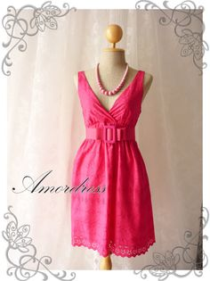 Lace Dress Hot Pink Vintage Inspired Dress Hot Pink by Amordress, $37.50