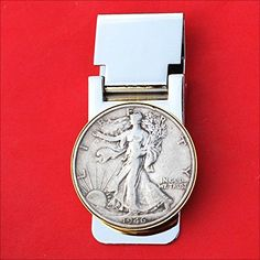 US 1946 Walking Liberty Half Dollar 90% Silver Coin Hinged Money Clip NEW -- More info could be found at the image url. (Amazon affiliate link)