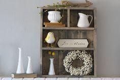 Bathroom Shelves Cubby Shelf Farmhouse by CassolsPaintedMantel