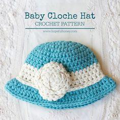 Bebé Vintage Cloche Hat - Crochet Patrón gratuito