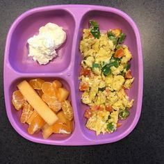 Breakfast Scrambled eggs with capsicum and cherry tomatoes, rockmelon, mandarin and cottage cheese. #replayrecycled#healthyeating#growingbodies #babyledweaning #blw #blwideas #babyledweaning #fresh #babyeats #healthingkids #healthybabies #babyfood #toddlerfood #kidsfood #glutenfree #yum #toddlerfoodideas #baby #bento