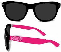 Phi Mu Sorority Sunglasses: $10.50. Great Greek Gift. UV polarized lenses.