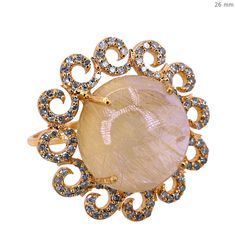 Fine 18k Gold Pave Diamond Gemstone Rutile Quartz SUN Ring Vintage Style Jewelry #Handmade #SolitairewithAccents