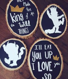Set of FOUR Where the wild things are wood decor for a Wild One Birthday party or Nursery. Each is hand painted without stencils so each one will be