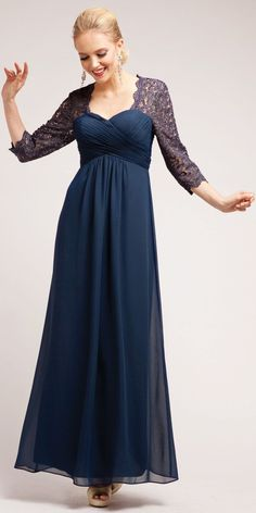 21f71563f CLEARANCE - Lace Mid Length Sleeve Plus Size Navy Mother Bride Dress (Size  4XL)