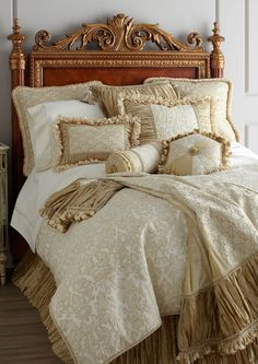 neutral bedding with romantic trims