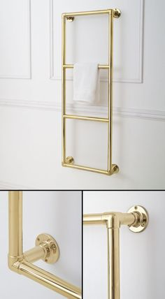 British made gold towel rails for wall hanging. Part of a large luxury collection of gold plated bathroom towel radiators. Bathroom Towel Radiators, Bathroom Towels, Wall Mounted Towel Rail, 4 Tier Shelf, Bathroom Plans, Bathroom Ideas, Hanging Bar, Towel Warmer, Heated Towel Rail