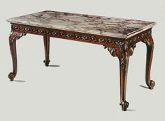 A George II Mahogany Side Table with a Breccia Rosato Marble Top