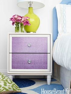 Bold Color transforms a simple nightstand to a statement piece.