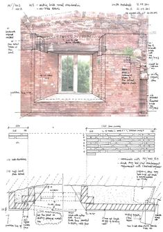 Site working drawing for new brickwork stabilisation to splayed curtain wall reveals, with geometry for bearing of joists above