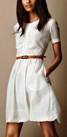 Adorable Simple Burberry Gathered Waist Silk Cotton Dress