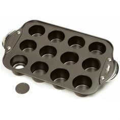 Mini cheesecake pan with 12 individual cups; ideal for muffins and quiche.